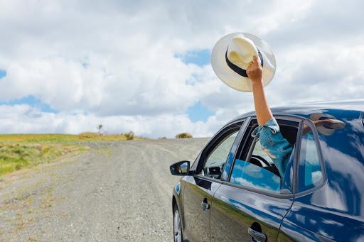 Chico viajando en carro